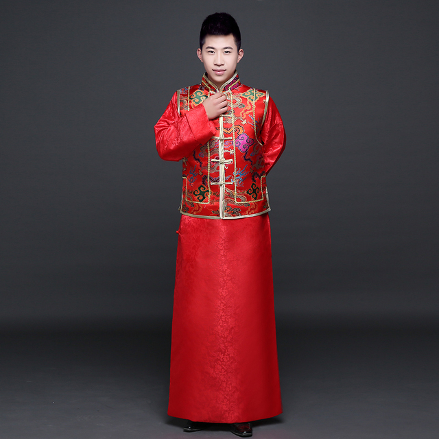 Chinese Style Groom Wedding Red Vintage Long Sleeve Traditional Men Clothing Costume Ancient China Dynasty Hanfu Oriental Suits