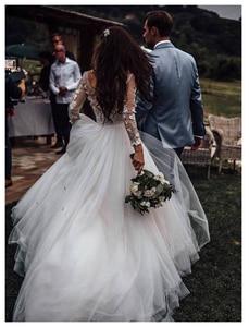 Image 2 - LORIE Dài Tay Áo Boho Wedding Dress 2019 Phồng Vải Tuyn Appliques Ren A Line Tulle Cô Dâu Cổ Điển Dresses Wedding Gown