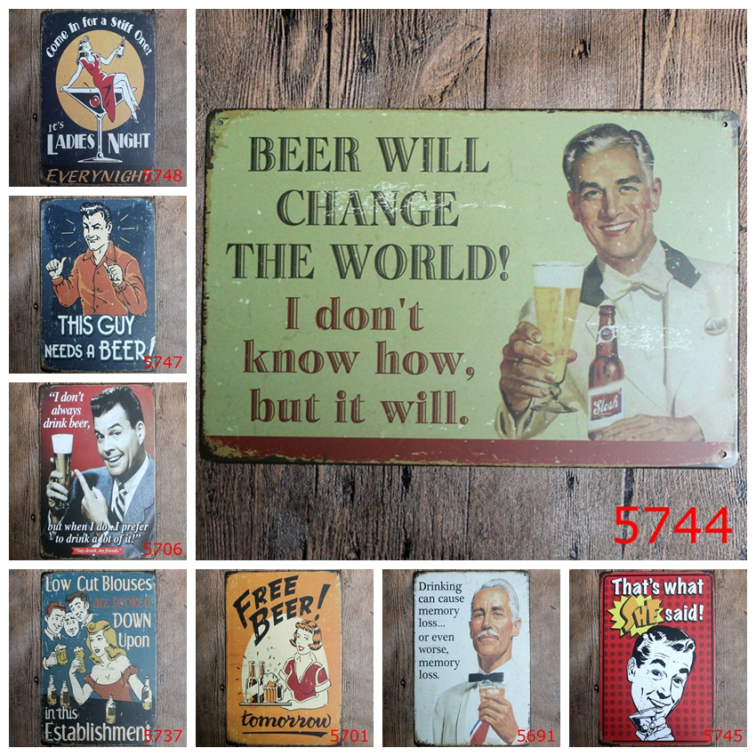 Classic Wall Stickers Vintage Tin signs Beer Wine Cocktails wall sticker home decor House Office Garage Bar iron Paintings