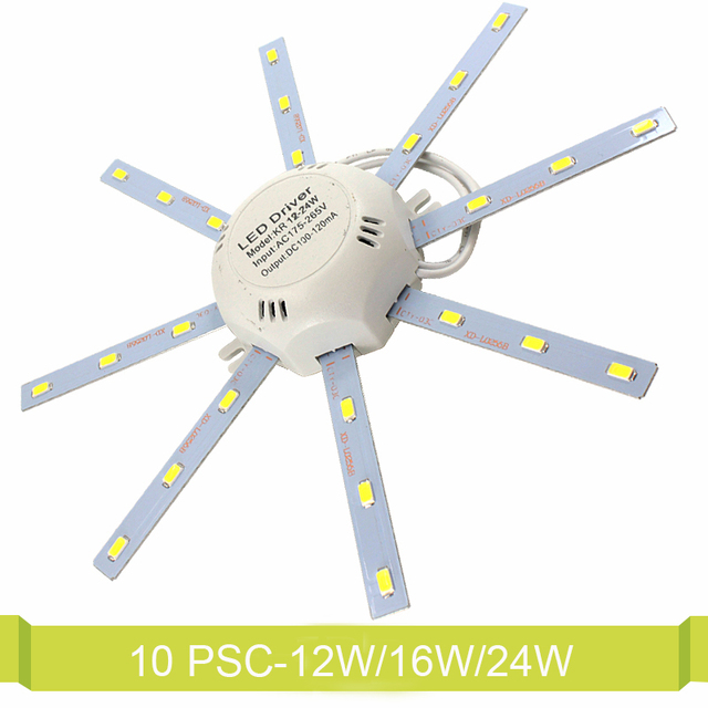 10 Psc/Lot LED Ceiling Lamp 12W 16W 24W Modified Light Source Lamp Plate Octopus Tube Indoor 5730SMD Energy Saving Plafon Light