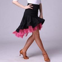 2019 new Girls Kids adult Modern Ballroom Latin Dance Dress tassel Fringe Salsa Tango Dance Wear Black Performance Stage Wear