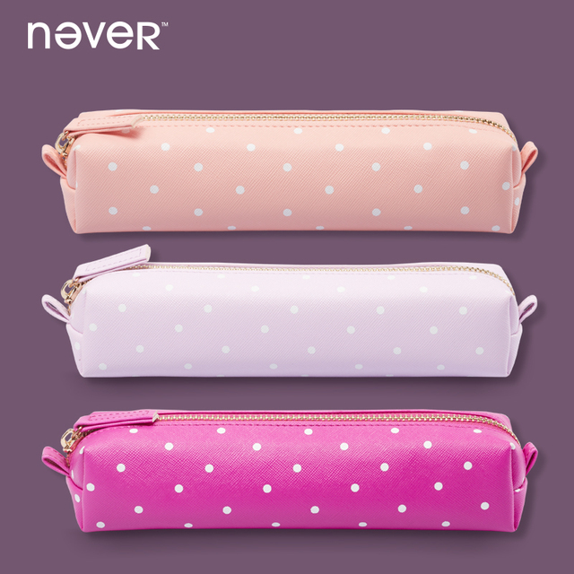Never Zipper Pencil Bags Pink Kawaii Leather Pen Bag Pencil Pouch For Girls Gift School Supplies Office Accessories Stationery