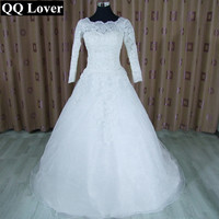 Long Sleeve Wedding Dresses 2015 Spring White Ivory Organza Scalloped Lace Sheer Cheap A Line Bridal