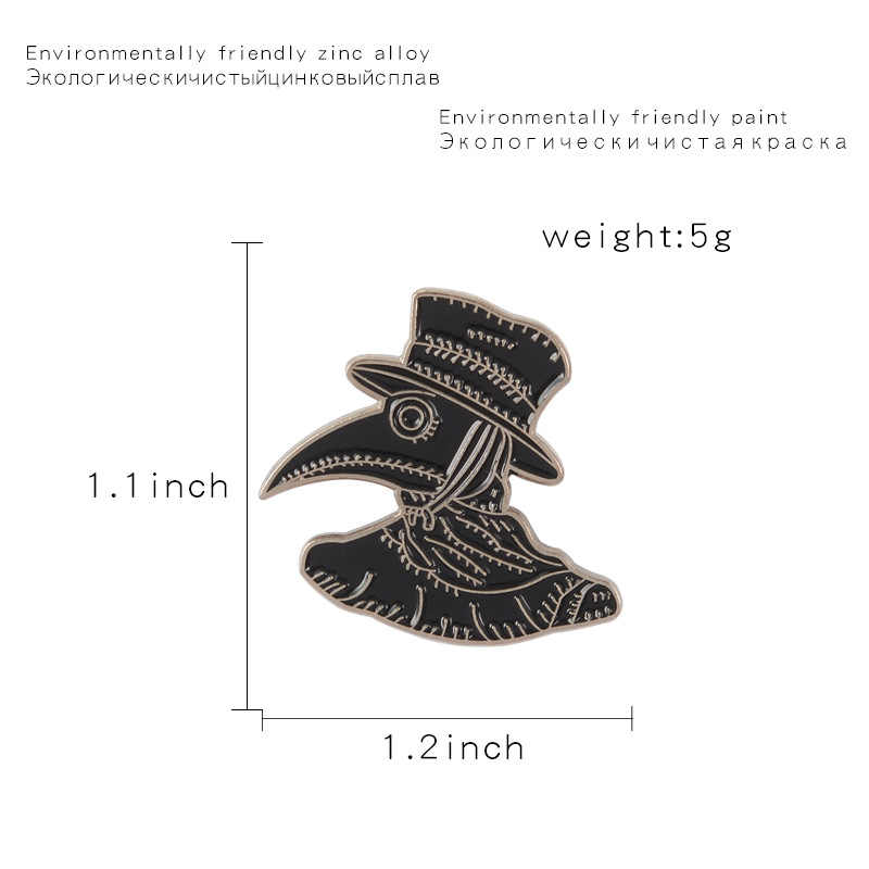 Retro Punk Black Hat Crow Brooches for Women Funny Animal Pins Jewelry Enamel Pin Denim Jackets Collar Backpack Bag Accessories