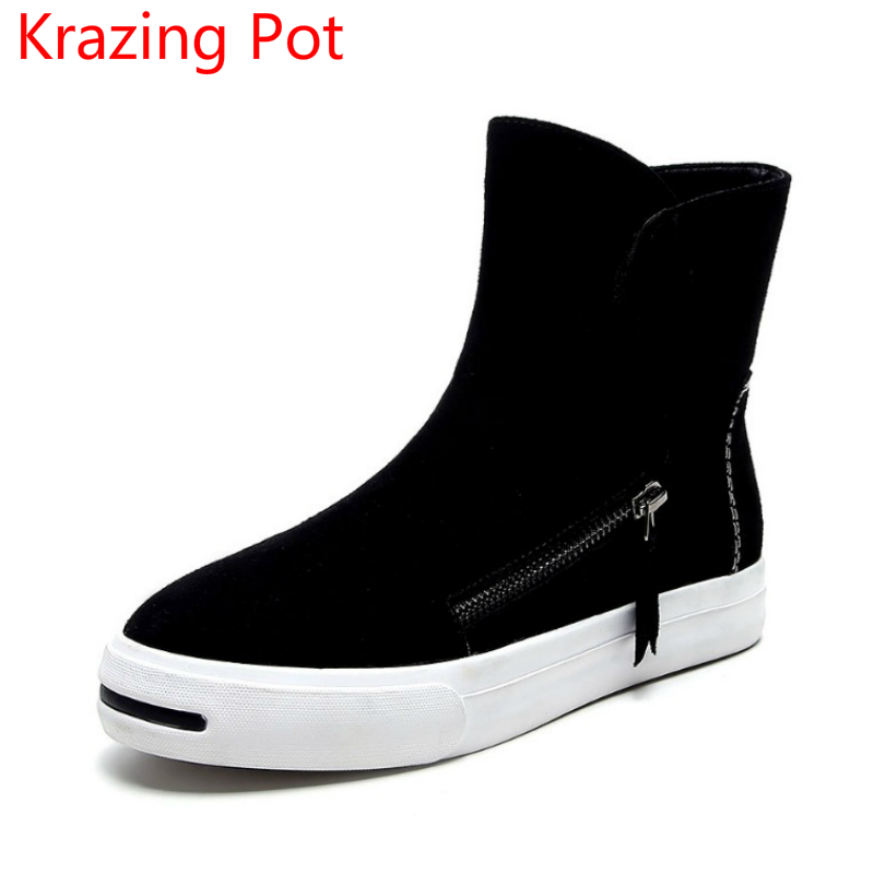 2018 Large Size Cow Suede Buckle Flat with Zipper Superstar Winter Boots Round Toe Casual Shoes Runway Keep Warm Ankle Boots L55