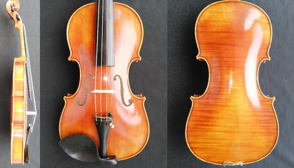 1 Outfit Full Size Violin 4/4 with One Piece Maple Back & Spruce Top GM9005# Nice Violin 4/4 with nice pattern one 4 string 4 4 violin electric violin acoustic violin maple wood spruce wood big jack green color