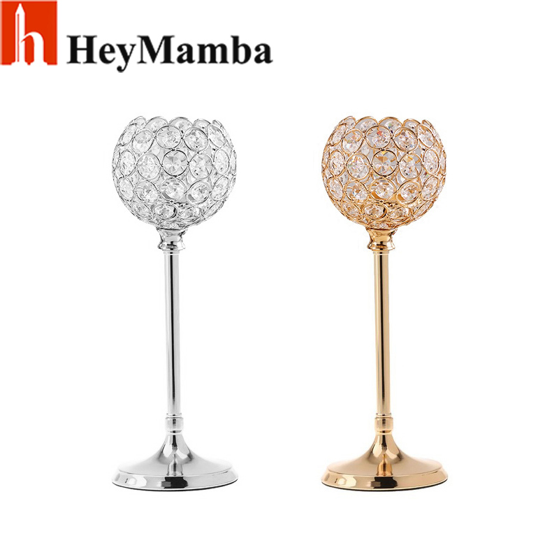 HeyMamba Silver/Gold Crystal Candle Holders Wedding Candelabra for Dining Room Coffee Table Decorative Centerpiece,Set of 2