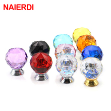 NAIERDI 30mm Colorful Crystal Glass Knobs Cabinet Handles Ball Cupboard Pulls Drawer Kitchen Furniture Handle