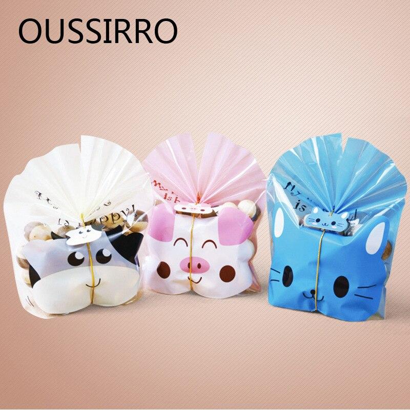 25PCS Cute Cartoon Translucent Cookie Bag Ziplock Bag Candy Nougat Packaging Bag Gift Bag Happy Birthday Decoration 25 Tags