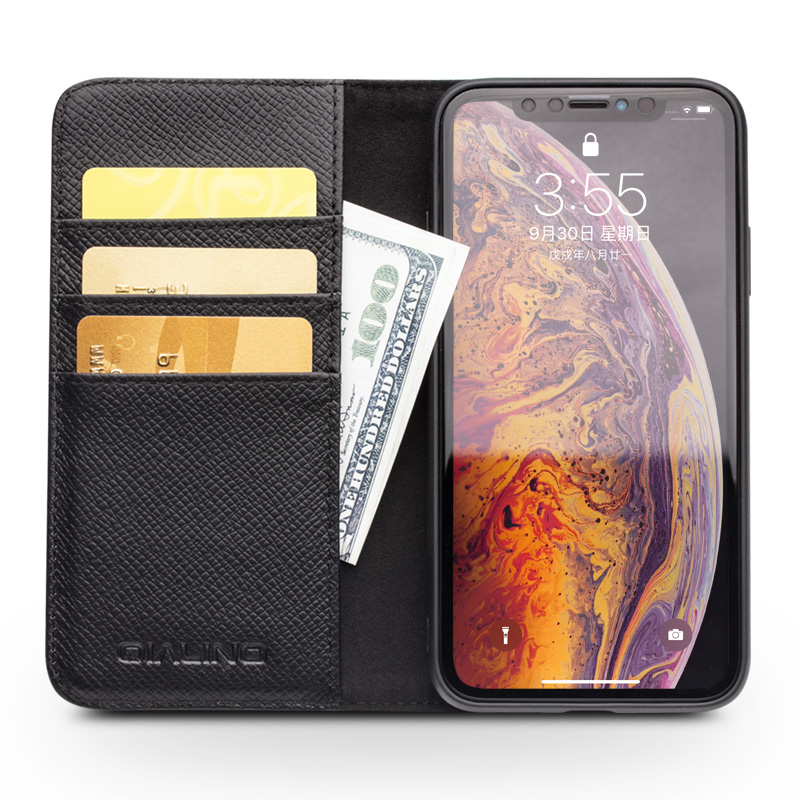 New 2 in 1 For iPhone X XR XS Max Real Natural Cowhide Genuine Leather Phone Case Cow Skin Flip Cover Qialino Brand Wallet Pouch-in Flip Cases from Cellphones & Telecommunications on AliExpress - 11.11_Double 11_Singles' Day 1