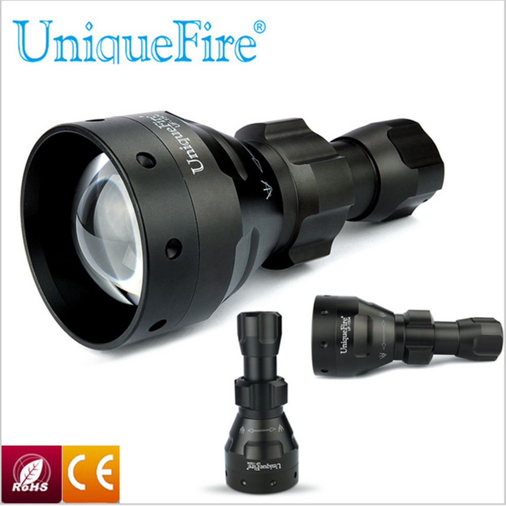 UniqueFire 1504 Zoomable LED Rechargeable Zoomable Flashlight Torch 67mm Convex Lens 3 Modes 850nm IR Night Vision Torch uniquefire 1406 ir 850nm led 3 modes flashlight to hunt flashlight torch light 50mm convex lens night vision torch free shipping