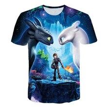 2019 bolsillo sin dientes camiseta hombres Tops Linda cómo entrenar a dragón dibujos animados 3D T camisa de verano gris ropa de algodón camiseta