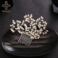 1 Piece Bridesmaid Bridal Cream Imitation Pearl Floral Hair Combs Hairpins Wedding Hair Accessories Handmade Veil