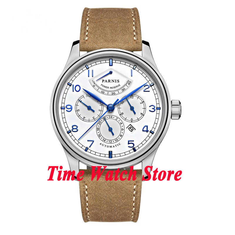 42mm parnis white dial power reserve Sapphire Glass cow leather strap 26 jewels miyota 9100 Automatic