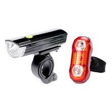 Waterproof Bicycle LED Front Light + Warning Rear Lamp Set Shockproof Mountain Bike Light Lamp Cycling Safety Lighting Sets