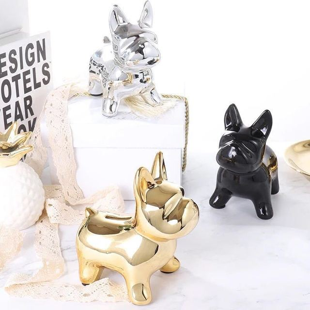 European Ceramic Crafts Bulldog Piggy Bank Home Decor Cute Piggy Bank Ornaments Creative Bulldog Money Box 2