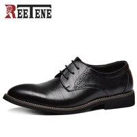 Venta 100% Zapatos de vestir de cuero genuino para hombre, zapatos Oxford de alta calidad para hombres, zapatos de negocios con cordones, zapatos de boda de marca para hombres