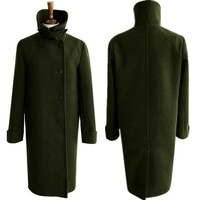 New women's woolen coat winter coats Stand collar woolen coat long single breasted ladies army green overcoat XXXL