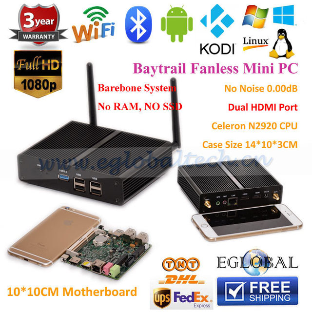 Fanless Mini PC Barebone System Quad Core Celeron N2920 1.8GHz Intel Graphics HDMI USB3.0 Interface HTPC
