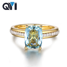 QYI Natural Sky Blue Topaz 100% 925 Sterling Silver Yellow Gold 2.5 ct Topaz Cushion Cut rigs For Women Gemstone Engagement Ring