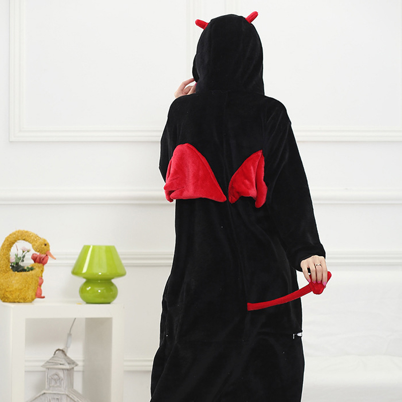Funny Black Devil Kigurumi Soft Flannel One-Piece Pajamas Warm Demon Halloween Onesie For Adults Cosplay Party Costume Sleepwear (5)