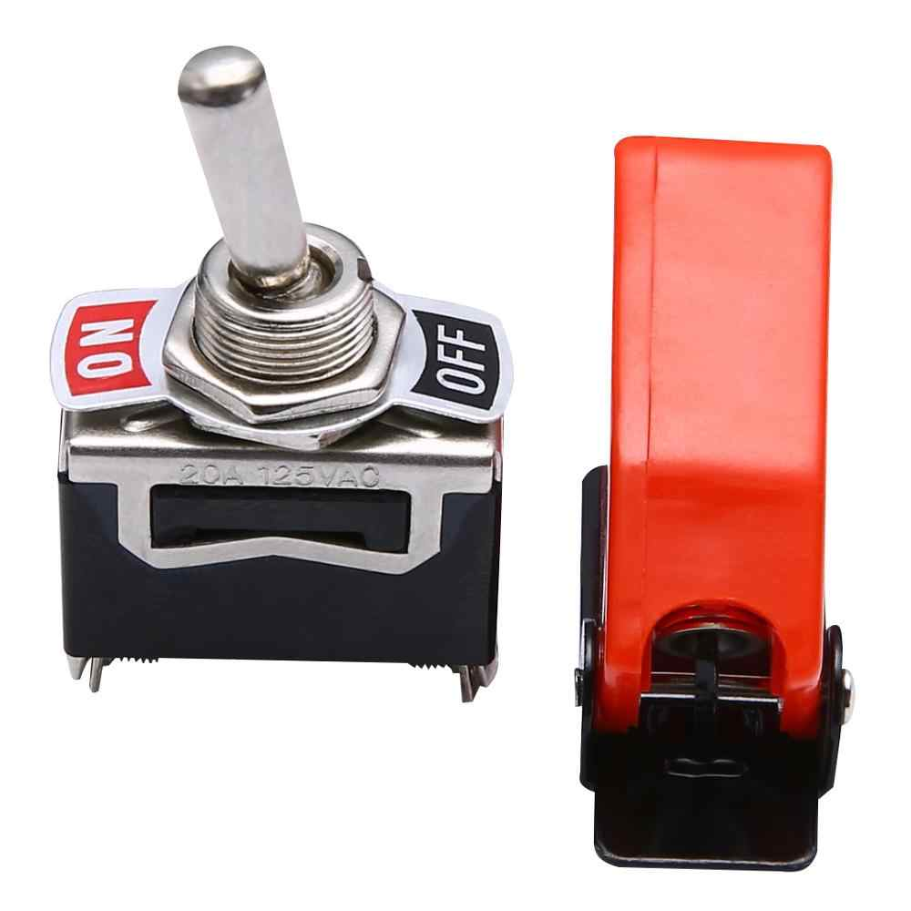 High Quality 1 Set Toggle Switch Cover ON/OFF SPST Toggle Switch Metal Lever Car Dash Light with Missile Cover