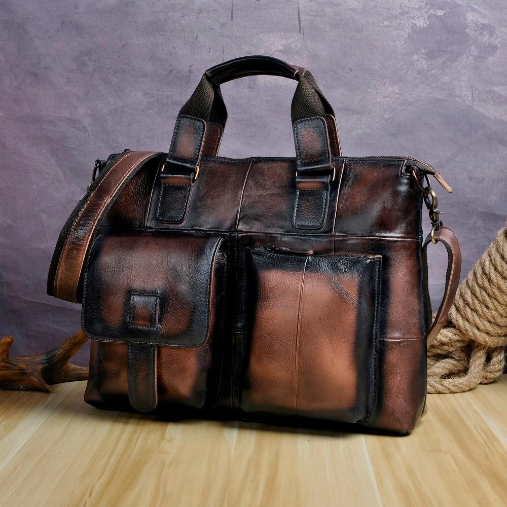 Men Original Leather Retro Designer Business Briefcase Casual 15 Laptop Travel Bag Case Attache Messenger Bag