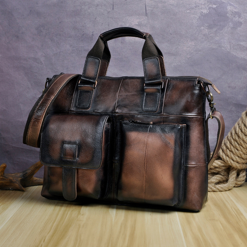 Men Original Leather Retro Designer Business Briefcase Casual 15