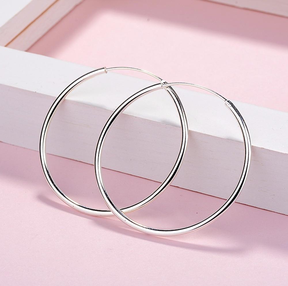 Minimalist 925 Sterling Silver Large Hoop Earrings Female Big Round Circle Buckle Earrings Hoop Ear Rings for Ladies SE134