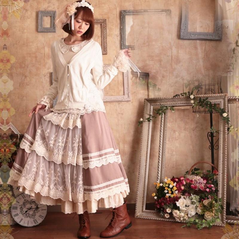 Mori fille doux volants dentelle Patchwork rayé Lolita jupe femmes japonais Kawaii dames longue Muti couches princesse jupes T345