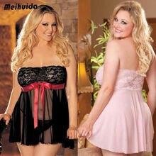 Hot Sale Plus Size Women  Red Stapless Bowknot Lace Dress Babydoll Sleepwear Mini Nightdress все цены