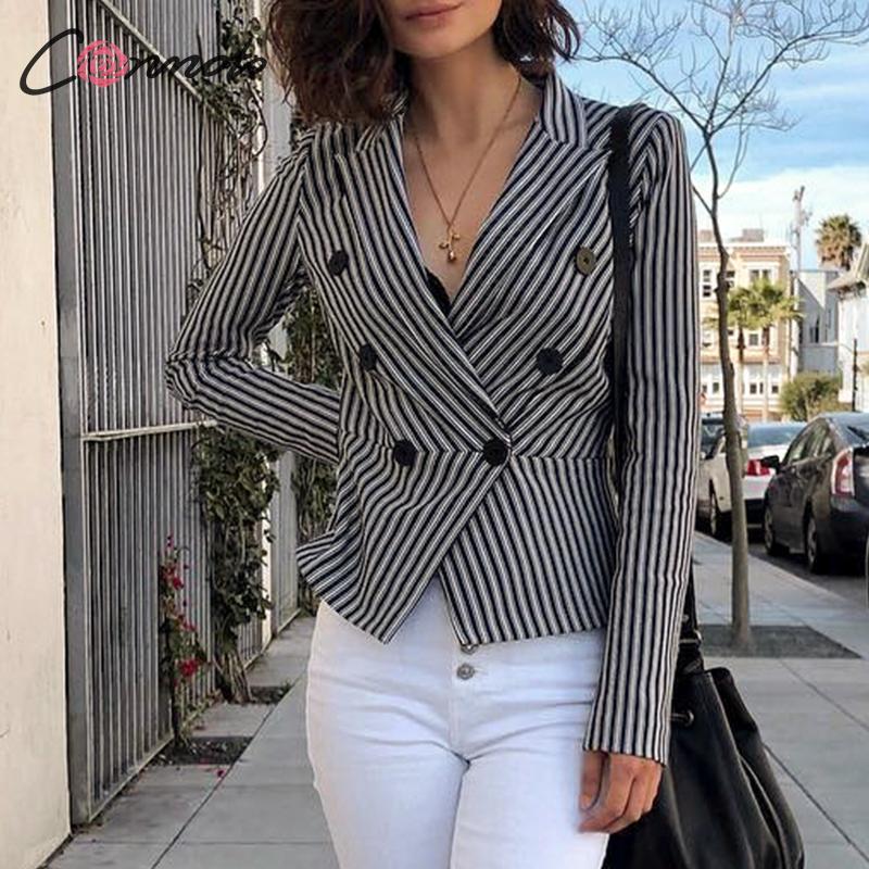 Conmoto Women Fashion Stripe Short Blazer Female 2019 Autumn Winter Long Sleeve Outwear Mujer Slim Double Button Blazer Jacket