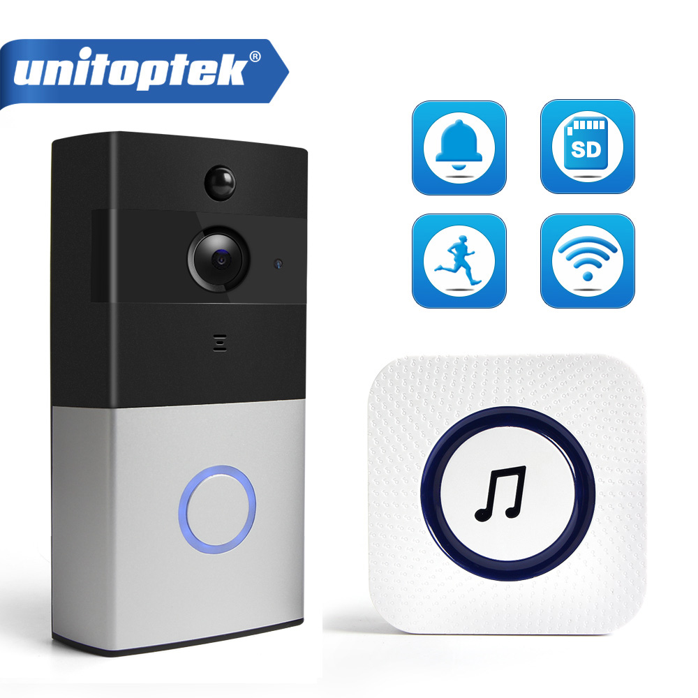 720P IP Video Intercom Wifi Doorbell PIR Infrared Detection Wi-Fi Video Door Phone Visual Doorbell Camera SD Card Battery Button ...