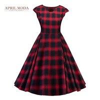 5XL Plus Size 50s Audrey Hepburn Vintage Dress U Neck New Arrival Plaid Printed Red Black