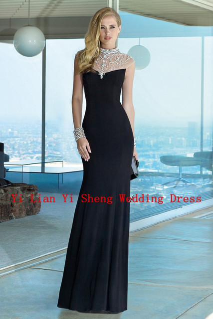 Simple Celebrity Dresses 2016 Scoop Straight Chiffon Celebrity Dresses Sleeveless Beading Floor-Length Celebrity Dresses Gowns