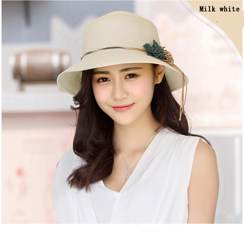 HTB1pmNzov2H8KJjy1zkq6xr7pXaJ - 2018 Summer New Solid Floppy Straw Hats For Women Flower Accessories ladies Summer Beach Sun Caps Panama Style Hat