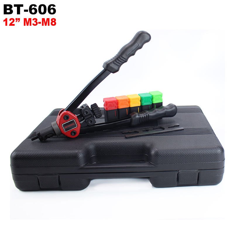 YOUSAILING BT- 606 12 Inches Hand Rivet Nuts  Gun With Plastic Case Packing 12 Inches (290mm) Manual Riveter Nut M3-M8