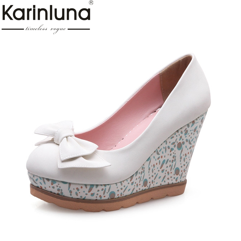 Karinluna Women's Sweet Bowtie Party Wedding Shoes Woman High Heel Wedges Round Toe Platform Pumps Big Size 33-42 summer platform wedges party shoes for woman extreme high heels sexy wedding shoes woman comfort female shoes heel