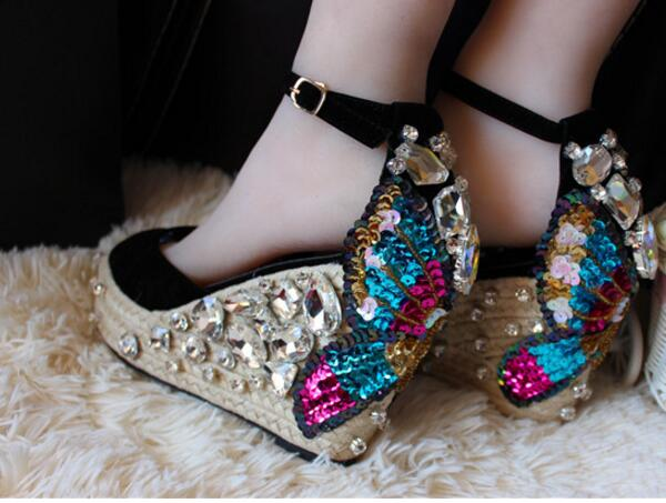 ФОТО Newest Handmade Rope Braided Crystal Embellished Wedge Sandal Platform Sandal Sexy Peep Toe Butterfly-knot Ankle Strap Sandal