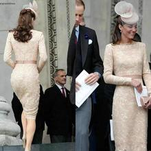 Kate Middleton Long Sleeves Evening Dresses Champagne Knee Length Celebrity Holiday Wear Formal Party Prom Gowns Plus Size