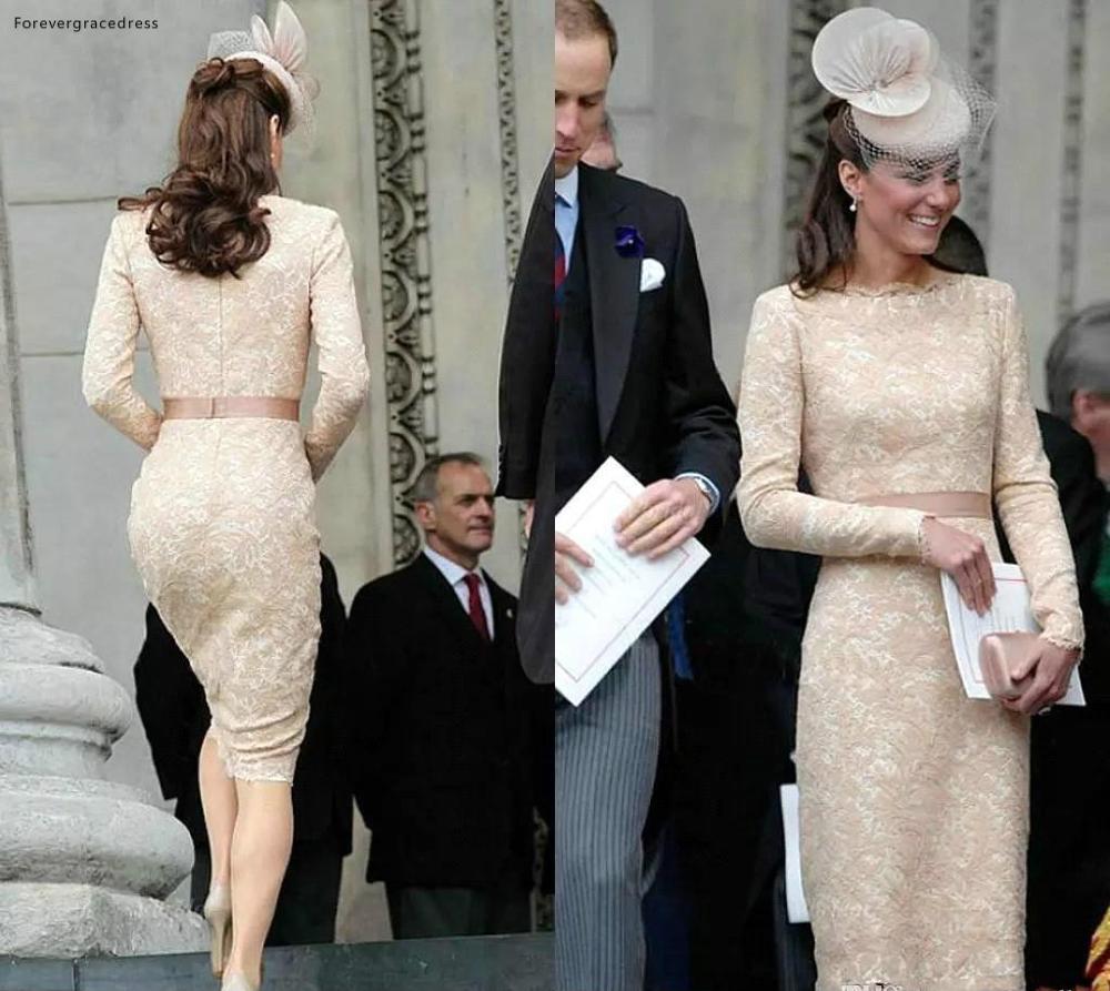 Kate Middleton manches longues robes de soirée 2019 Champagne genou longueur célébrité vacances porter formelle fête robes de bal grande taille