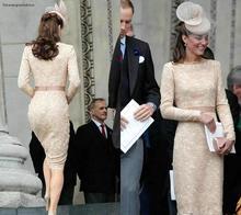 Kate Middleton długie rękawy suknie wieczorowe 2019 szampana kolano długość Celebrity wakacje nosić formalne suknie na przyjęcie Plus rozmiar tanie tanio Celebrity sukienki Poliester Pełna Scoop Koronki Proste REGULAR Satyna vintage Forevergracedress