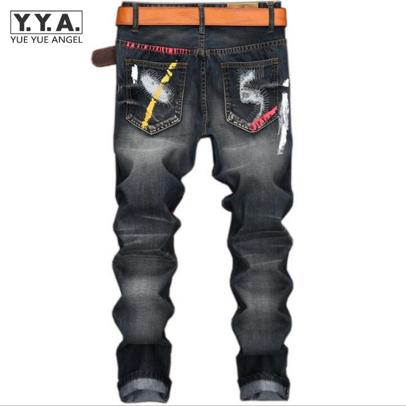 High Quality Mens Jeans Ripped Colorful Printed Demin Pants Slim Fit Straight Casual Classic Hip Hop Trousers Ripped Streetwear streetwear mens patch jeans slim fit denim jeans ripped pants high quality recommend new famous brand jeans men trousers 7044