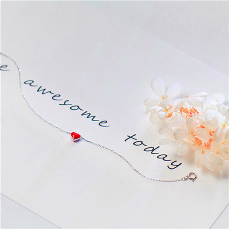 925 sterling silver anklet halhal on foot leg Korean fashion red love ankle peach heart anklets for women cute jewelry 2
