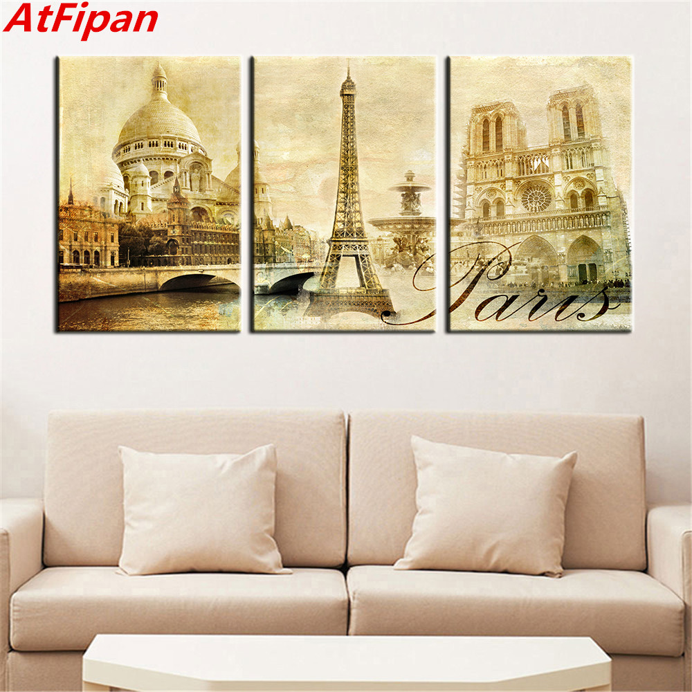 AtFipan Art Pictures Paris Famous Buildings Large Modern Home Wall ...