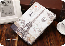 Tablet Protective Cases Painted  Flip smart stand TPU leather case for mini 4 2015 cute animals kitty Fairy forest Eiffel tower