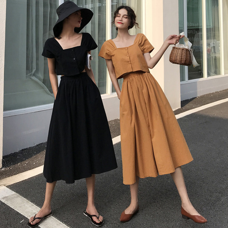 Women Crop Top And Skirt Set Summer Vintage Two Twin Style Square Neck Cotton Skirt Top Two Piece Set