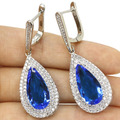 Long Drop  Swiss Blue Topaz, White CZ SheCrown Wedding Created   Silver Earrings 45x17mm