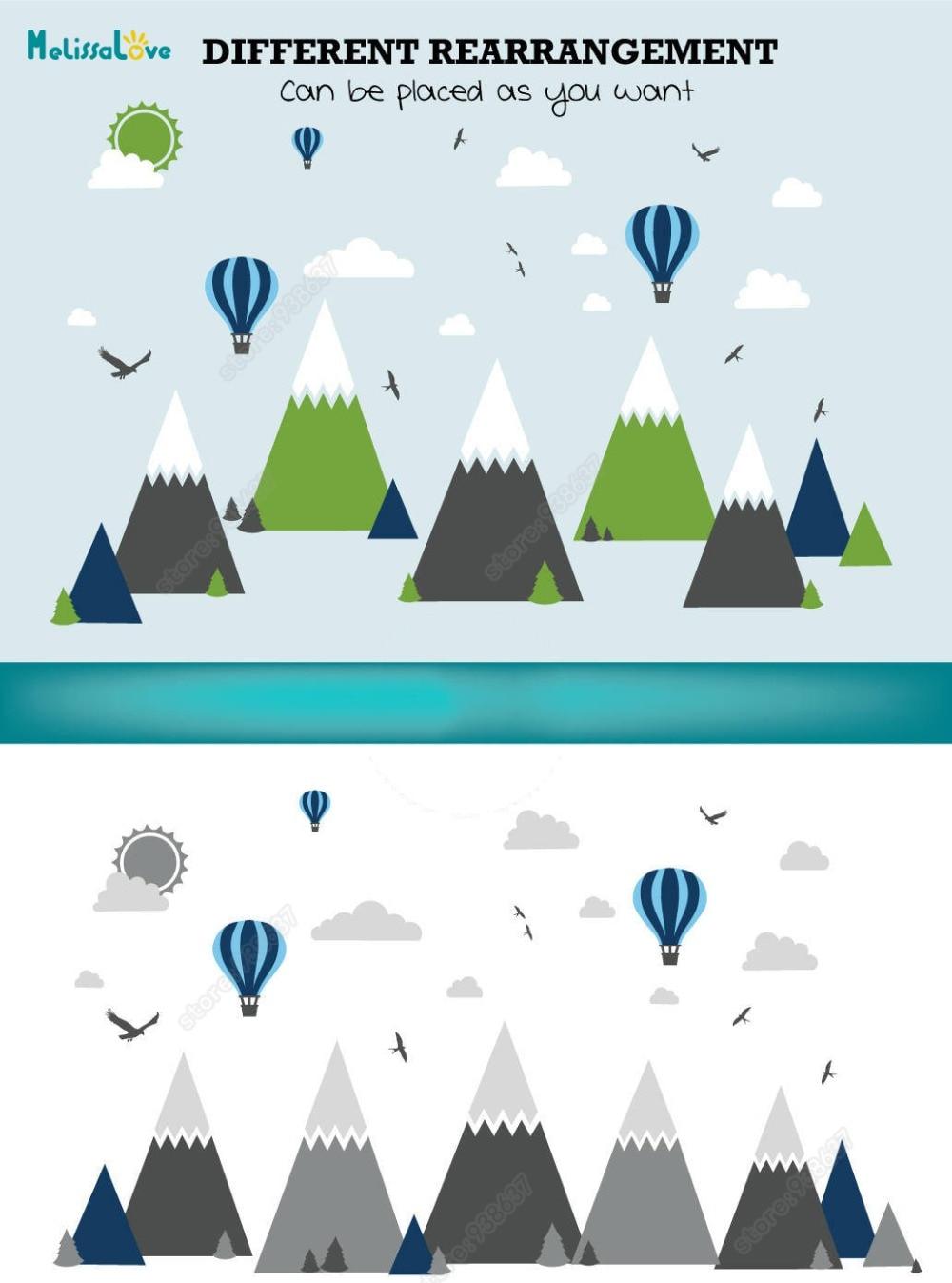 Großes Baby Zimmer Aufkleber Adventure Theme Decor Riesige Mountain Cloud Vogel Heißen Ballon Kinderzimmer Abnehmbare Vinyl Wandaufkleber JW375 - 3