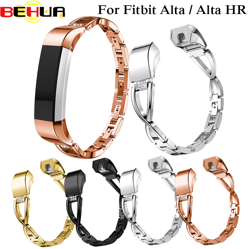 High Quality Replacement Alloy Crystal Rhinestone Wristband Band Strap Bracelet For Fitbit Alta/For Fitbit Alta HR Watch Band image